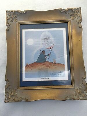 Beautiful Signed Print by Johnny Tiger Jr Good Medicine Native American Framed