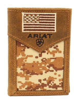 Ariat Western Mens Wallet Leather Rodeo USA Flag Patch Brown Camo A3536428