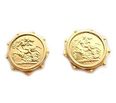 Authentic Vintage Estate EL 20k 22k Yellow Gold British Sovereign Earrings 1905