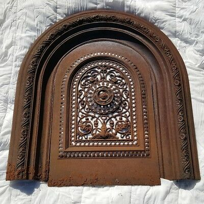 Antique Victorian Cast Iron Fireplace Hearth Grate Cover Surround Arch