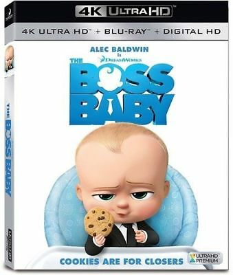 The Boss Baby: 2017, 4K Ultra HD Blu-ray + Blu-ray + Digital HD W/Slipcover New