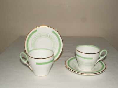 Shelley Art Deco Oxford Handpainted Banded Coffee-Duos Truly Stunning