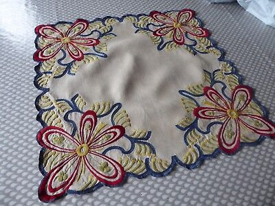 Vintage Hand Embroidered Linen Cloth/small Size . Striking Art Nouveau Design