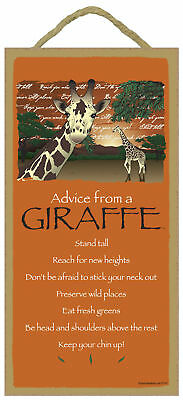 Advice from a Giraffe Inspirational Wood Wild Animal Nature Sign Made in USA