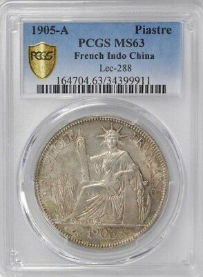 1905 A French Indo China 1 Piastre, PCGS MS 63, Vietnam, Cochin