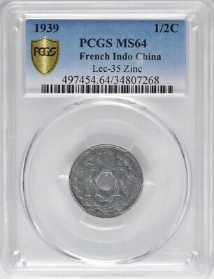 1939 French Indo China 1/2 Cent, Scarce Zinc Variety, PCGS MS 64 Vietnam, Cochin