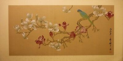 """FL052 Magnolia and parakeet - Chinese painting on silk 40""""x20"""" i33½""""x16"""""""