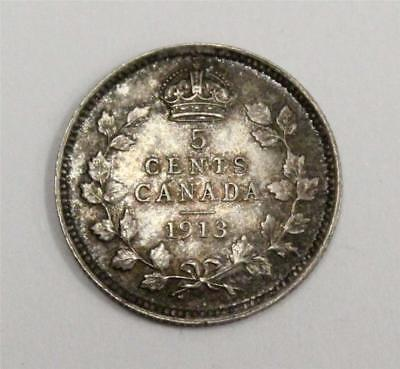1913 Canada 5 cents silver coin EF45+ and nice