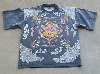 Vintage Hard Rock Cafe All Over Print Tee Shirt Bali Polo Tommy