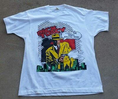 Vintage 80s 90s DICK TRACY Tee Shirt Screen Stars TV Movie Single Stitch
