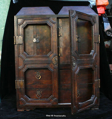 48cm Chinese Old Leaflet Sandalwood Hand carved Cabinet Wardrobe Almirah HFHK