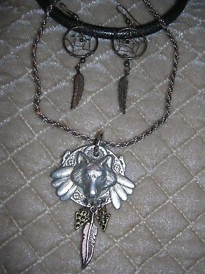 Vintage Fine Pewter Wolf Head-1995/sterling Necklace/dream Catcher Earrings-Nice