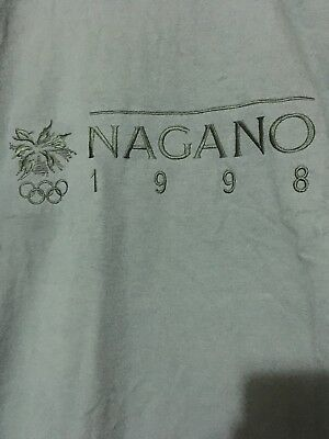 1998 Nagano Olympics Embroidered Tee Shirt Vintage Large Green