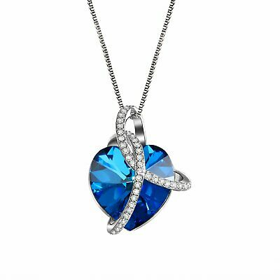 a38430a33 Ocean Heart Love Pendant CZ Necklace Made with Swarovski Elements Crystals  Xmas