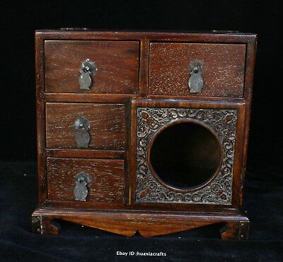 24cm Chinese Old Leaflet Sandalwood Hand carved Jewelry Cabinet Cupboard HFHK