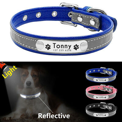 Personalized Dog Collar Leather Reflective Small Dog Name ID Collar Free Engrave