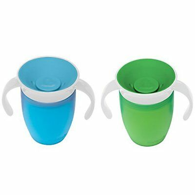 Munchkin Miracle 360 Trainer Cups, 7 Ounce, - Blue and Green - 2 Count NWT
