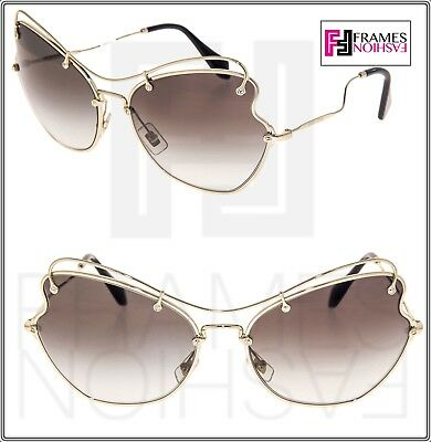 9121fcde509a MIU MIU SCENIQUE Butterfly 56R Pale Gold Black Gradient Sunglasses MU56RS  65mm