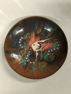 Vintage Exclusief Holland´s Handwerk Copper & Enamel Bowl Of A Fish & Seaweed