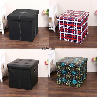 Awesome Single Folding Storage Pouffe Cube Foot Stool Seat Ottoman Caraccident5 Cool Chair Designs And Ideas Caraccident5Info