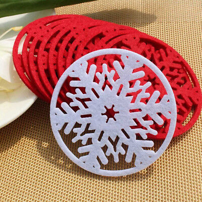 6pcs Christmas Decoration Snowflake Table Heat Resistant Mat/Cup//Coasters w/