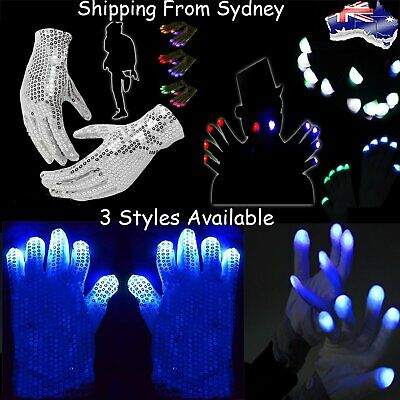 LED Light Gloves Lighting Flashing Finger Light Up Rave Party Glow In the dark