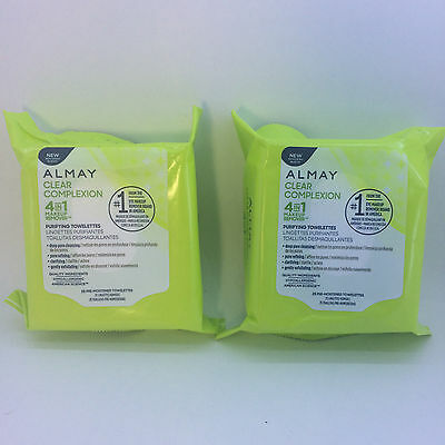 Almay Clear Complexion 4-in-1 Makeup Remover Towelettes 25ct ea 2 Pack Lot