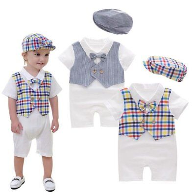 32477f87a95 Baby Boy Christening Wedding White Tuxedo Suit Outfit Romper Clothes+HAT Set