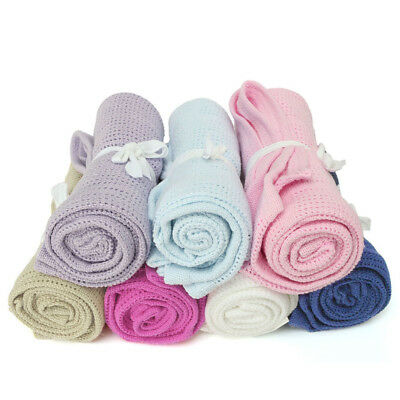 Newborn Baby Blankets Super Soft Cotton Crochet Candy Color Casual Blankets HOT
