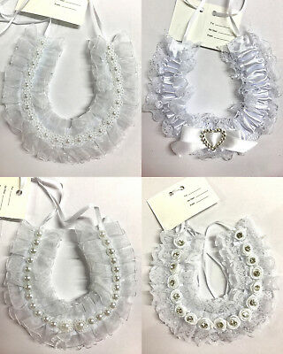 New White Wedding Charm Good Luck Wedding Bridal Horseshoe Hanging Charm 4Design