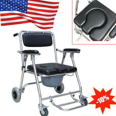 Transport Bedside Folding Commode Wheelchair Shower Toilet Aluminum RollingChair