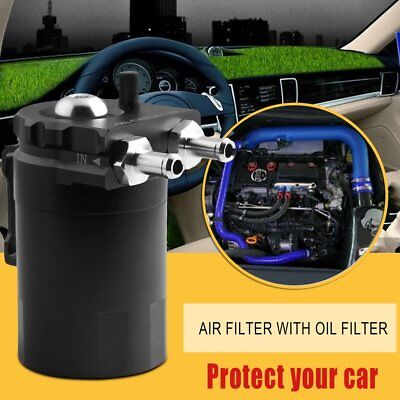 Car Cylinder Aluminum Engine Oil Catch Can Modified Tank With Filter Hose Bla@3
