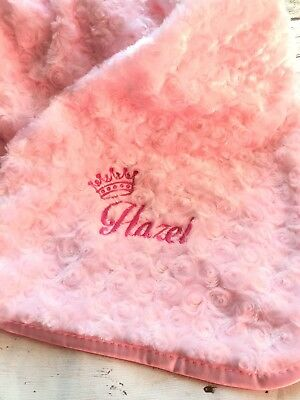 Personalised Luxury Baby Blanket Crown Embroidered Name Boy Girl Birth Gift New