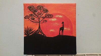 Acryilic painting on streched canvas 8*8 inches Safari dream by Veronika