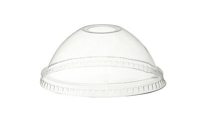 50 x 9oz Clear Dome Lids with Straw Hole For Plastic Smoothie Milkshake Cups