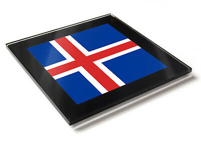 Iceland Flag National Colours Premium Glass Table Coaster with Gift Box