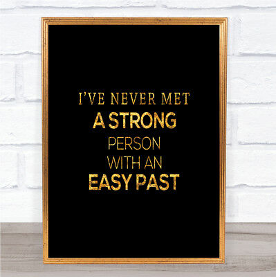 Strong Person Quote Print Black & Gold Wall Art Picture