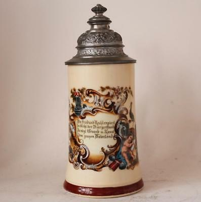 Antique Porcelain Beer Stein Freedom and Justice Wedding Gift w/Litho c.1880s