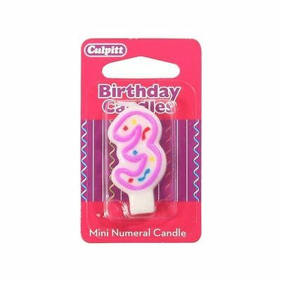Mini Party Candle '3'  for Birthday / Anniversary  Cake Candle