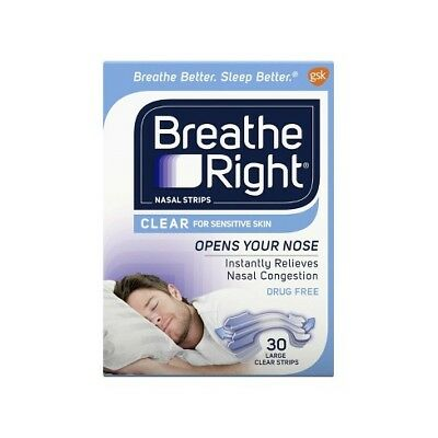 Breathe Right Strips - Clear for Sensitive Skin - SET OF (4) 30 CT Large 120 ct