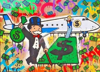 Alec Monopoly Graffiti Handcraft Oil Painting on Canvas MONEY BALOONS 24x36