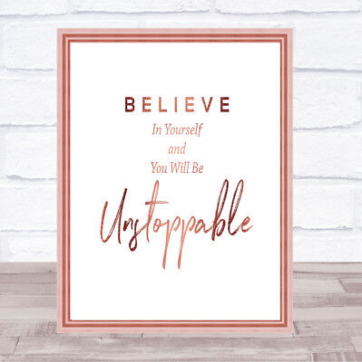 Unstoppable Quote Print Poster Rose Gold Wall Art