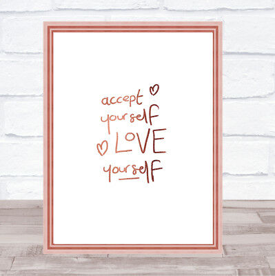 Accept Yourself Quote Print Poster Rose Gold Wall Art