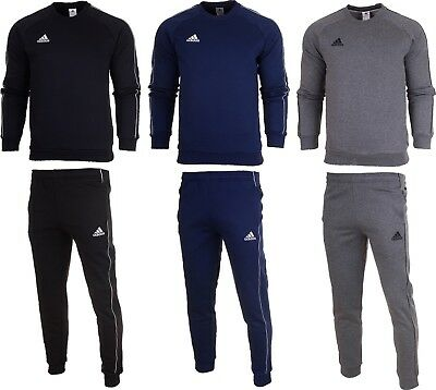 Adidas Core 18 Mens Fleece Full Tracksuit Crew Neck Top Bottom Pants Training