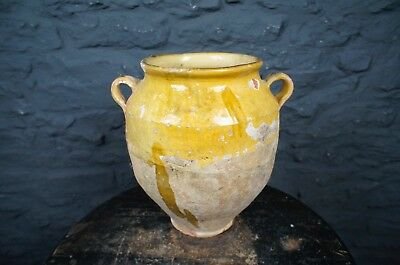 19thC Antique French Confit Pot in Yellow - Beautiful Kitchen or Flower Display