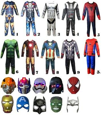 Avengers Star Wars Tranformers Kids Costume + Light up mask 2-10 yrs