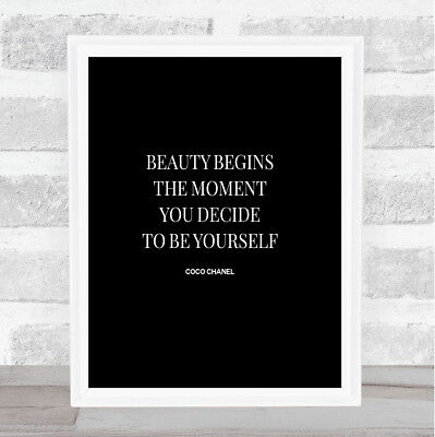 Coco Chanel Be Yourself Quote Print Black & White