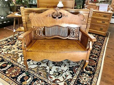 1930's Tiger Oak Bench Heavily Carved With Storage Seat