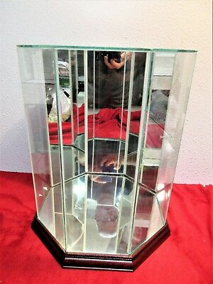 "Octagon Glass Display Case Mirror Wood Upright Glass Top 13"" 8 panels"
