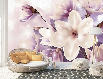 Wall Mural Photo Wallpaper Picture EASY-INSTALL Fleece Magnolia Purple Flowers